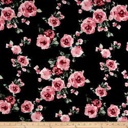 Rayon Spandex Jersey Knit Roses Mauve on Black Fabric