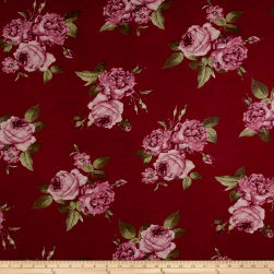 Rayon Spandex Jersey Knit Roses Mauve on Burgundy Fabric