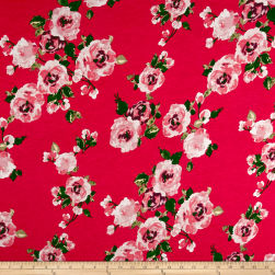 Rayon Spandex Jersey Knit Roses Mauve on Coral Fabric