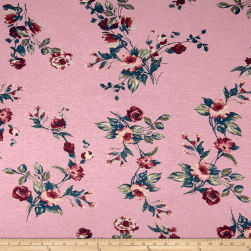 Rayon Spandex Jersey Knit Retro Floral Mauve on Pink Fabric