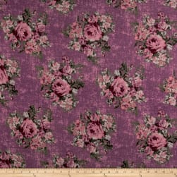Rayon Spandex Jersey Knit Distressed Roses Mauve Fabric