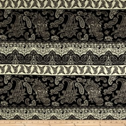 Rayon Spandex Jersey Knit Paisley Patchwork Brown/Black Fabric