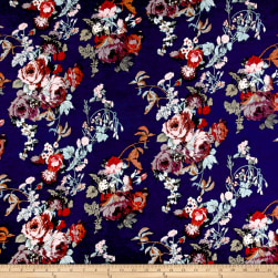 Rayon Spandex Jersey Knit Rose Bouquet Multi on Navy Fabric
