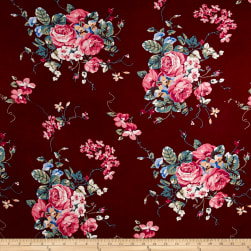 Rayon Spandex Jersey Knit English Floral Rose on Burgundy Fabric