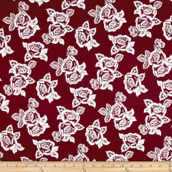 Rayon Spandex Jersey Knit Roses White on Burgundy Fabric