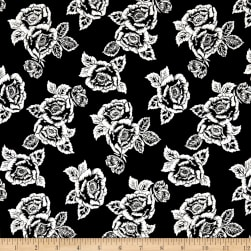 Rayon Spandex Jersey Knit Roses White on Black Fabric