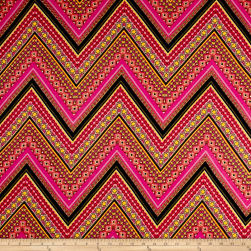 Rayon Spandex Jersey Knit Abstract Chevron Coral/Pink Fabric