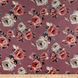 Rayon Spandex Jersey Knit Roses Gray on Mauve Fabric