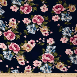 Rayon Jersey Knit Floral Blue/Mauve on Black Fabric