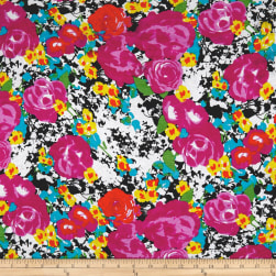 Rayon Spandex Jersey Knit Watercolor Floral Fuschia/Black Fabric