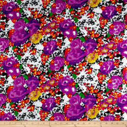Rayon Spandex Jersey Knit Watercolor Floral Purple/Black Fabric