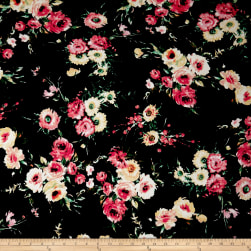 Rayon Jersey Knit English Floral Coral/Black Fabric