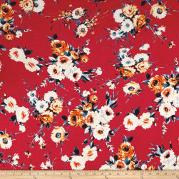 Rayon Spandex Jersey Knit English Floral Orange/Coral Fabric