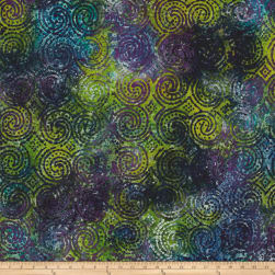 Aztec Swirl Circle Dots Batik Purple/Teal Fabric
