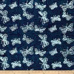 Blue Bazaar Batik Butterfly Blue Fabric