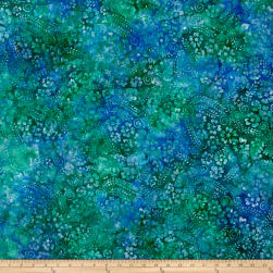 Floral Vine Swirl Batik Lt Blue/Purple/Green Fabric