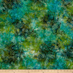 Swirl Mini Leaf Batik Green/Blue Fabric