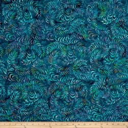 Sweeping Vine Batik Teal Fabric