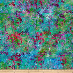 Abstract Floral Batik Aqua Fuchsia Fabric