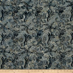 Squid Starfish Batik Deep Blue Fabric