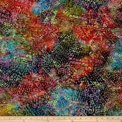 Triangle Patch Batik Rose/Teal/Yellow Fabric