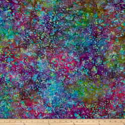 Leaf Batik Purple/Teal/Green/Blue Fabric
