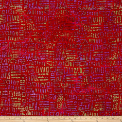 Random Geo Batik Purple/Red Fabric