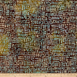 Random Geo Batik Brown/Green/Turquoise Fabric