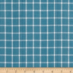 Yarn Dyed Shirting Square Surf Blue/White Fabric