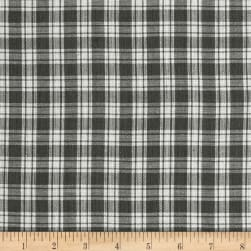 Yarn Dyed Shirting Small Plaid Grey/White Fabric