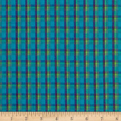 Yarn Dyed Shirting Plaid Aqua/Navy/Green Fabric