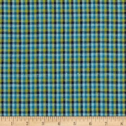 Yarn Dyed Shirting Check Olive/Navy/Blue Fabric