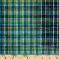 Yarn Dyed Shirting SM Plaid Olive/Navy/Blue Fabric