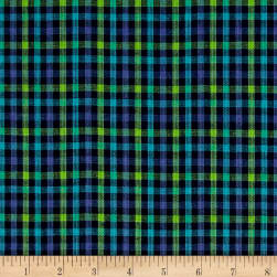 Yarn Dyed Shirting Check Navy/Aqua/Green Fabric