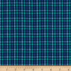Yarn Dyed Shirting Check Purple/Teal/Navy Fabric
