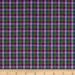 Yarn Dyed Shirting Check Purple/Lav/Green/Blue Fabric