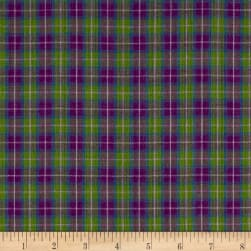 Yarn Dyed Shirting Plaid Purple/Lav/Green/Blue Fabric