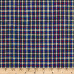 Yarn Dyed Shirting Small Plaid Nat/Blue/Green/Red Fabric