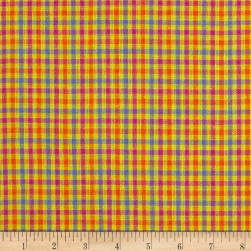 Yarn Dyed Shirting Check Yllw/Pink/Orange/Blue Fabric