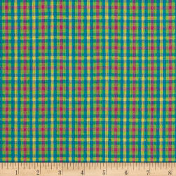 Yarn Dyed Shirting Check Fuchsia/Teal/Green/Yllw Fabric