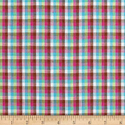 Yarn Dyed Shirting Check White/Blue/Pink/Brown Fabric