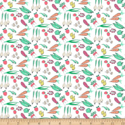 Dear Stella On The Farm Veggies White Fabric