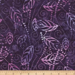 Wilmington Batiks Floating Leaves Purple Fabric