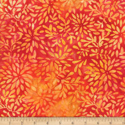 Wilmington Batiks Packed Petals Red/Yellow Fabric