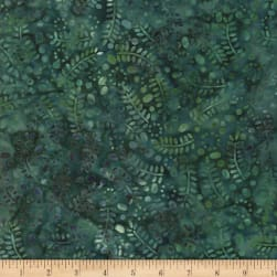 Wilmington Batiks Leaves and Circles Dark Teal Fabric