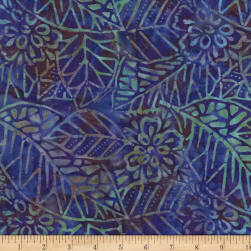 Wilmington Batiks Leaf and Flower Mix Purple/Blue Fabric