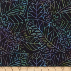 Wilmington Batiks Leaf and Flower Mix Gray/Blue Fabric