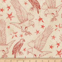 Wilmington Land of Liberty Toile Tan/Red Fabric