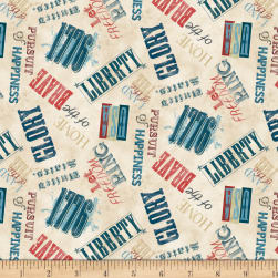 Wilmington Land of Liberty Words Allover Tan Fabric