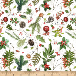 Wilmington Friendly Gathering Tossed Greenery White Fabric